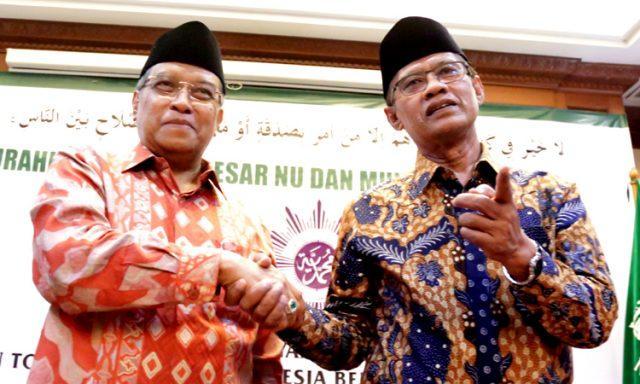 Ketum PBNU KH. Said Aqil Siroj dan Ketum Muhammadiyah Haidar Nasir